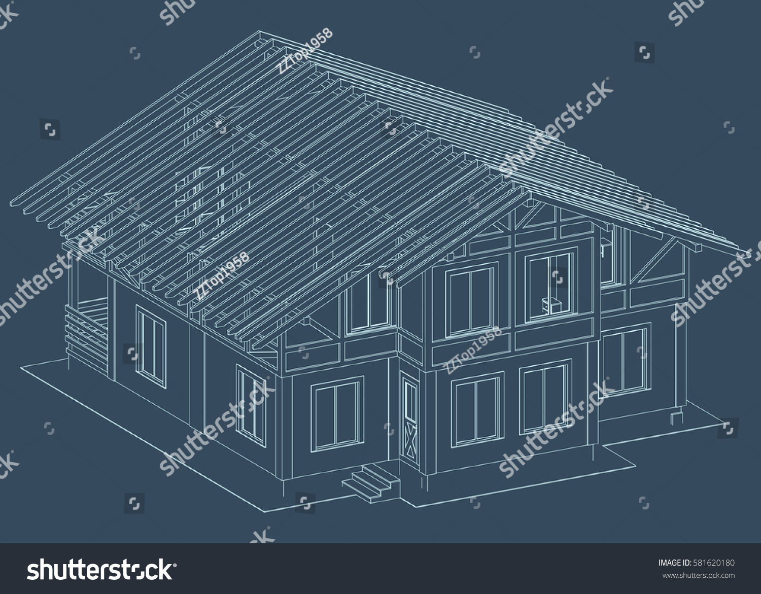 Blueprint architectural design halftimbered residential house the blueprint of architectural design of half timbered residential house with the rafters of the malvernweather Choice Image