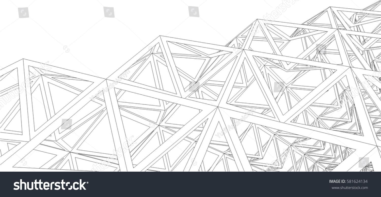 Building 3 D Structure Architectural Background Stock-Vektorgrafik ...