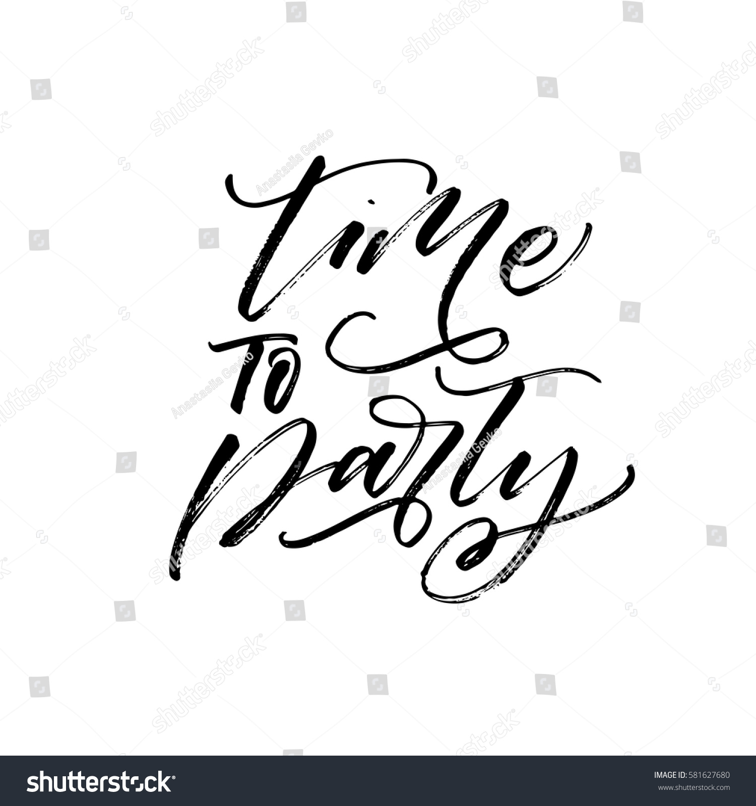 Time Party Postcard Ink Illustration Modern Stock Vector