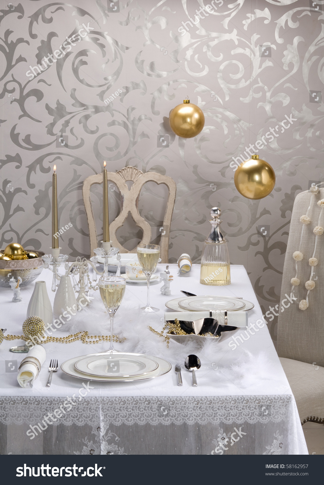 white christmas table setting & White Christmas Table Setting Stock Photo 58162957 - Shutterstock