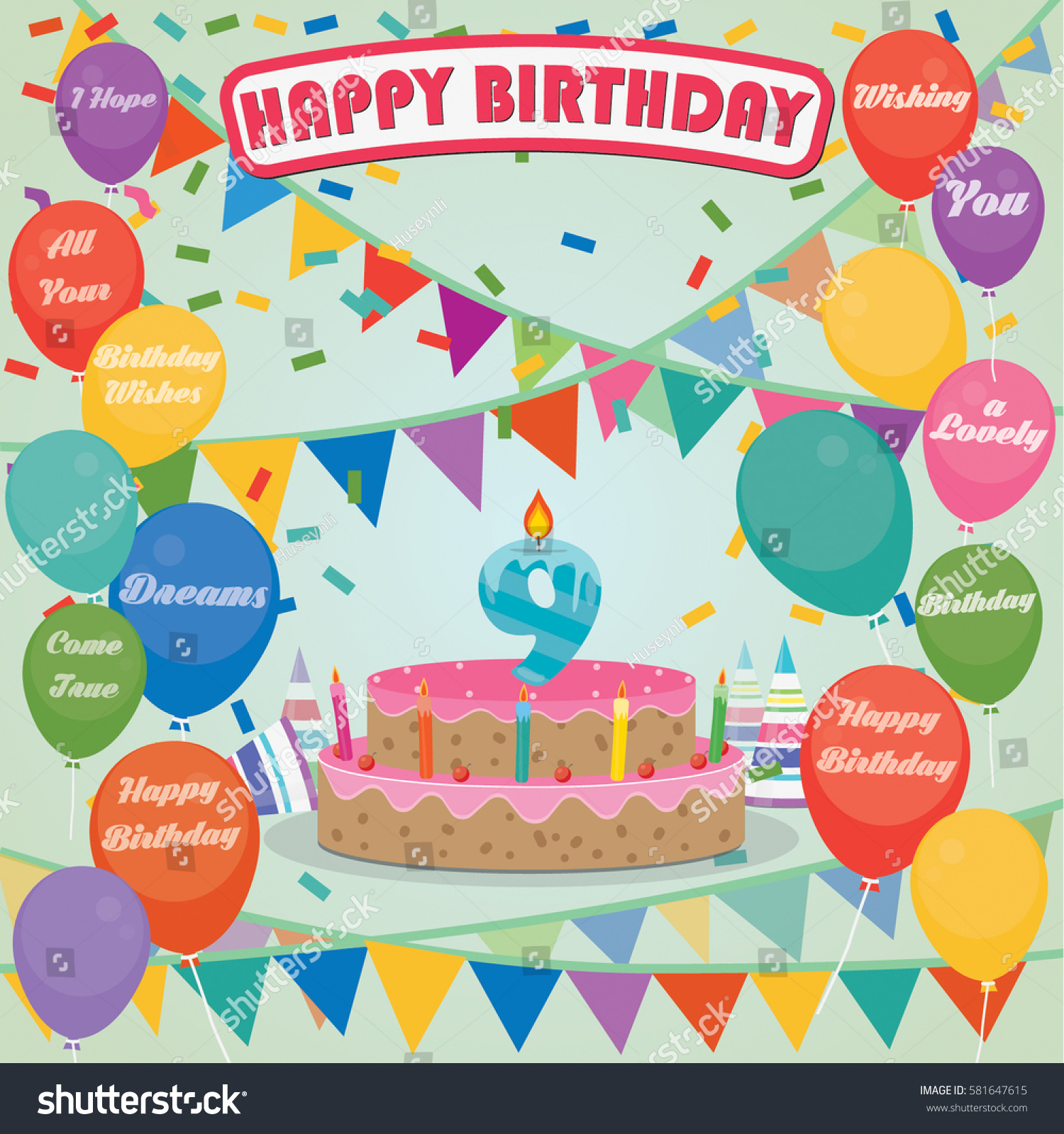 8th Birthday Cake And Decoration Background In Flat Design With