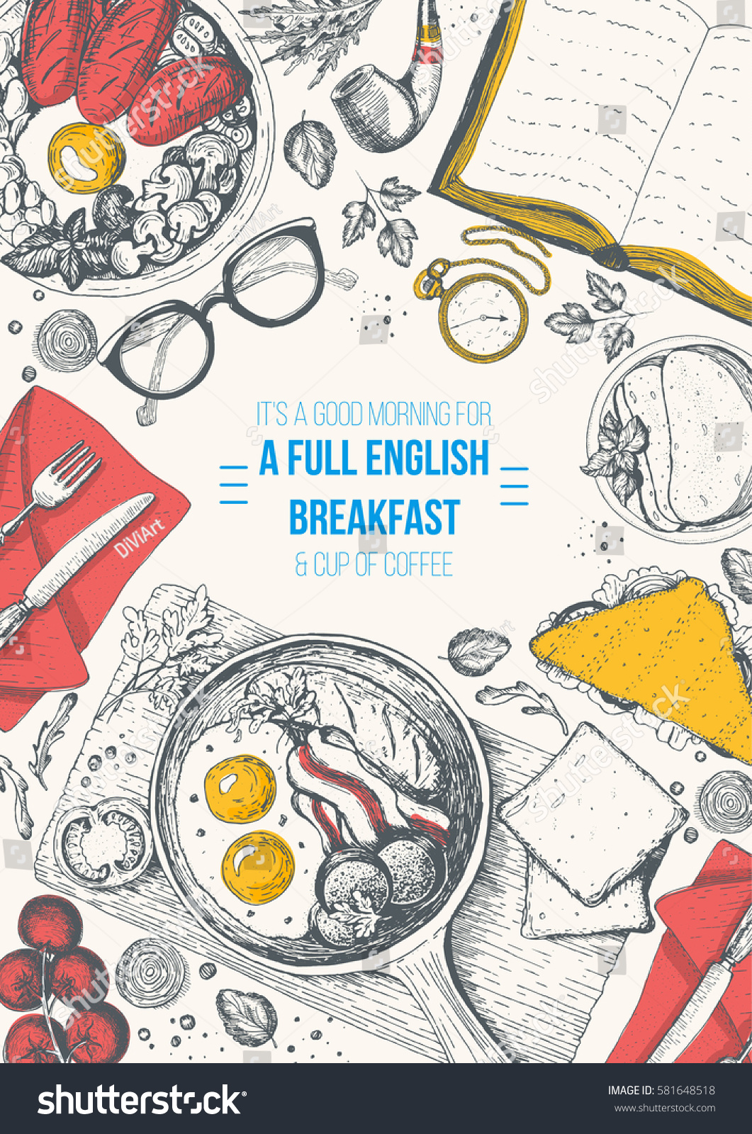 English Breakfast Top View Frame English Stock Vector 581648518 ...