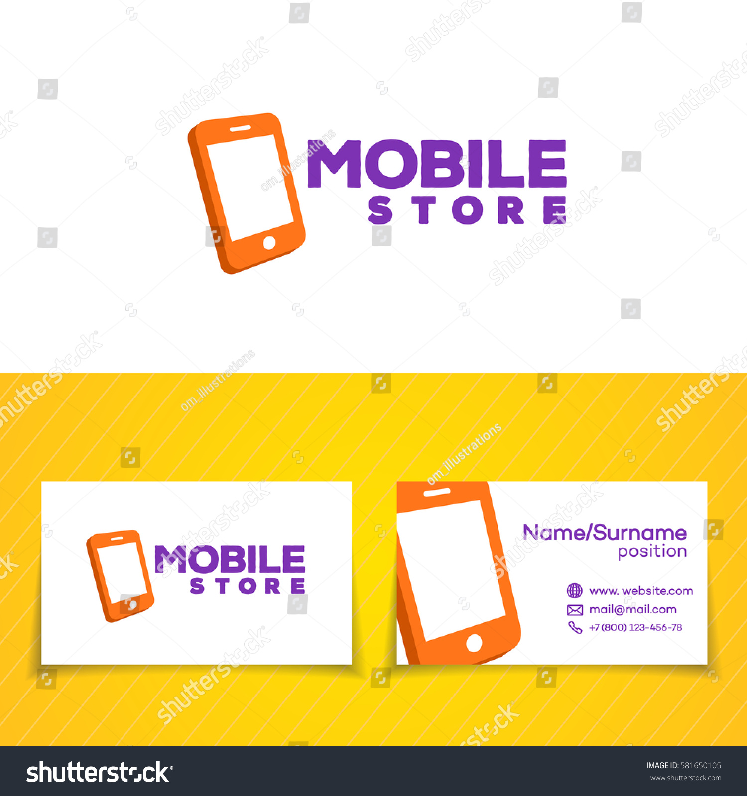 Mobile Store Logo Template Set Phone Stock Vector Royalty Free