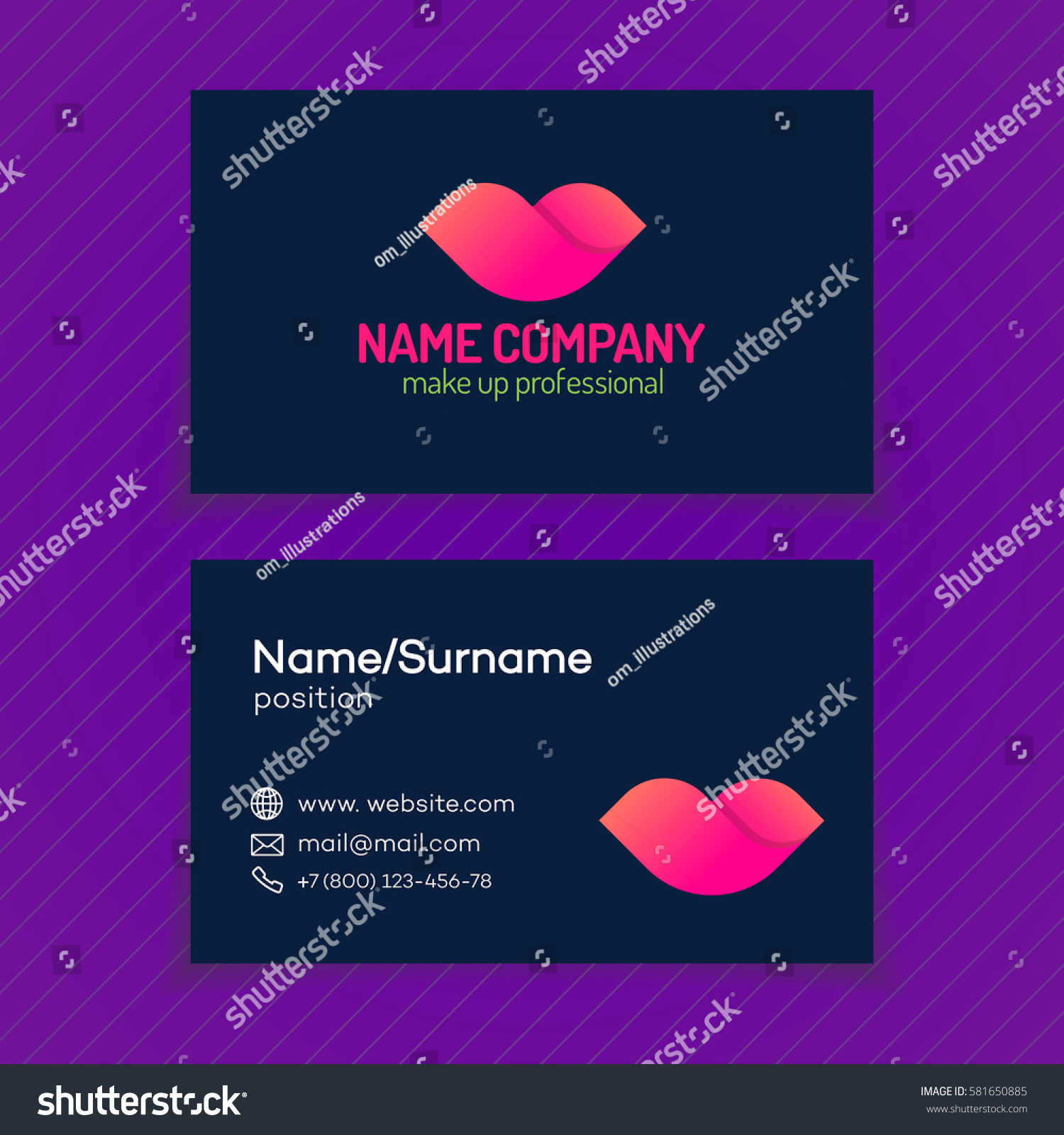 Business Card Makeup Logo Consisting Lips Stock Vector 581650885 ...