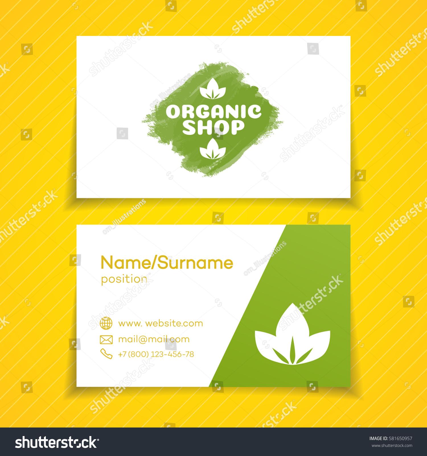 Business Card Organic Shop Logo Use Stock Vector Royalty Free