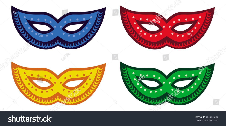 color carnival masks copy space raster stock illustration 581654305