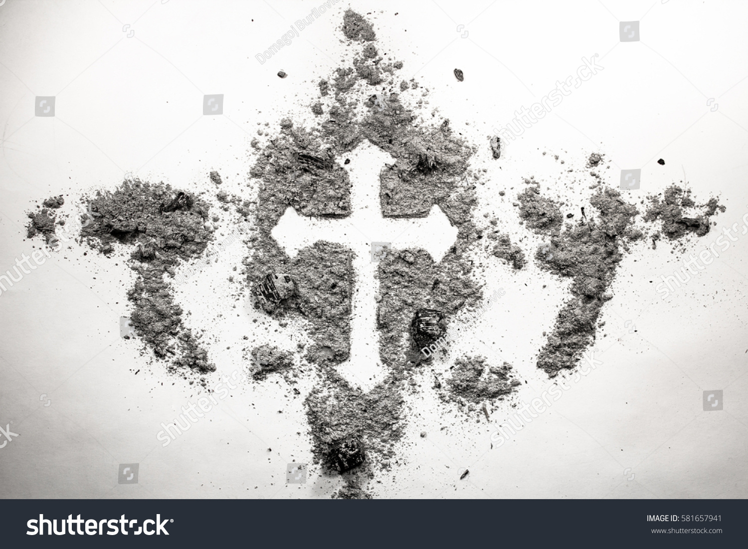 Christian cross drawing silhouette made ash stock photo 581657941 christian cross drawing silhouette made in ash dust dirt as ash wednesday holiday buycottarizona