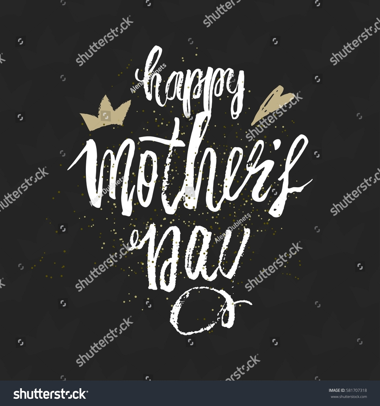 Happy Mothers Day Design Background Lettering Stock