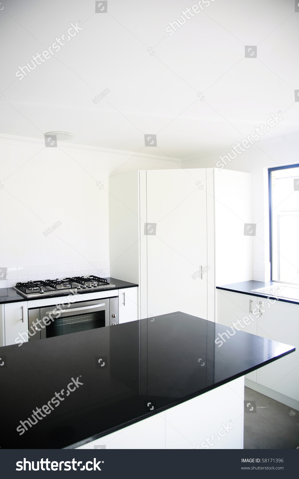 Interior Design Kitchen Black Benchtop White Royalty Free Stock