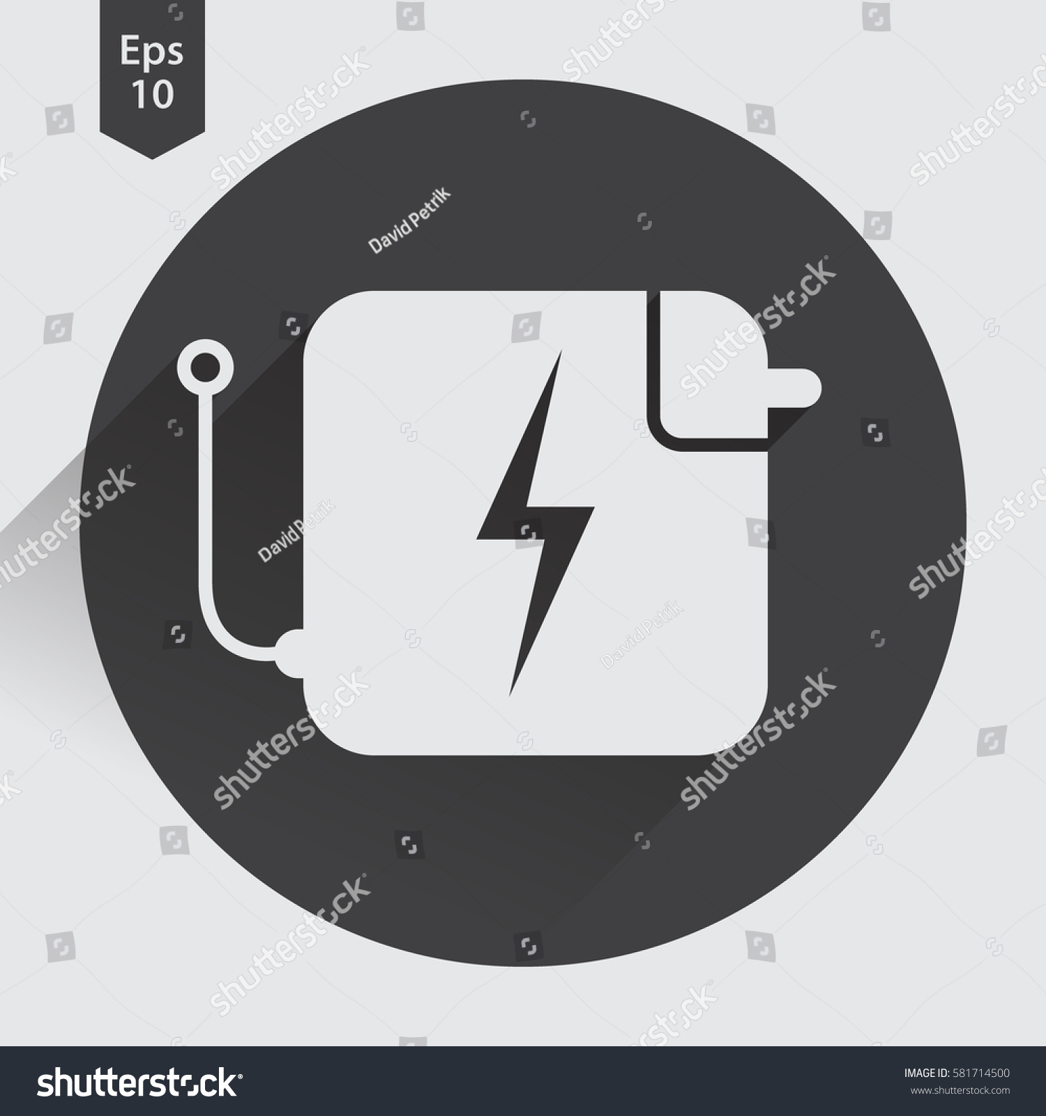 Charger Flat Icon Simple Sign Battery Stock Photo (Photo, Vector ...
