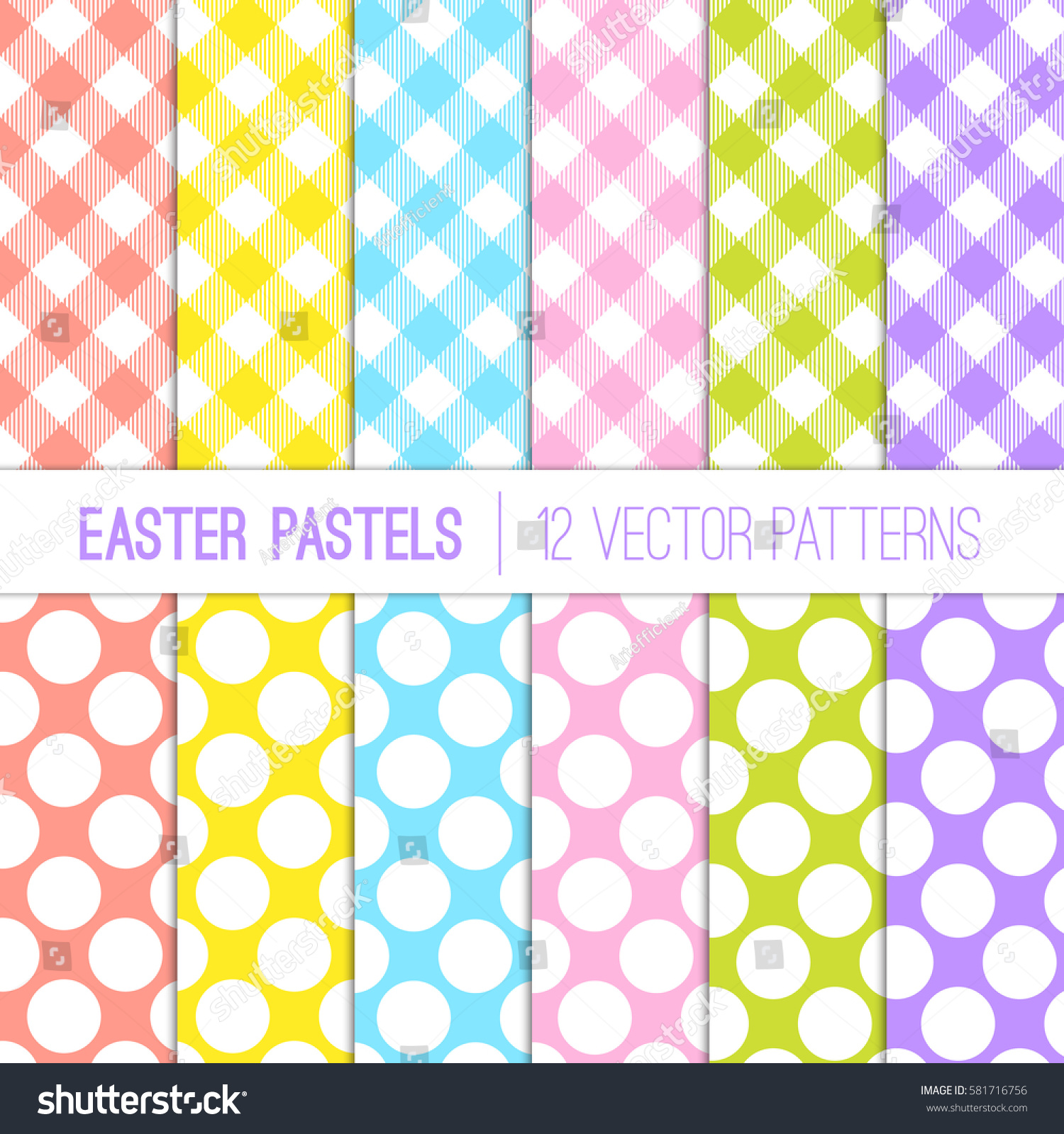Easter colors gingham plaid jumbo dots stock vector - What are the easter colors ...