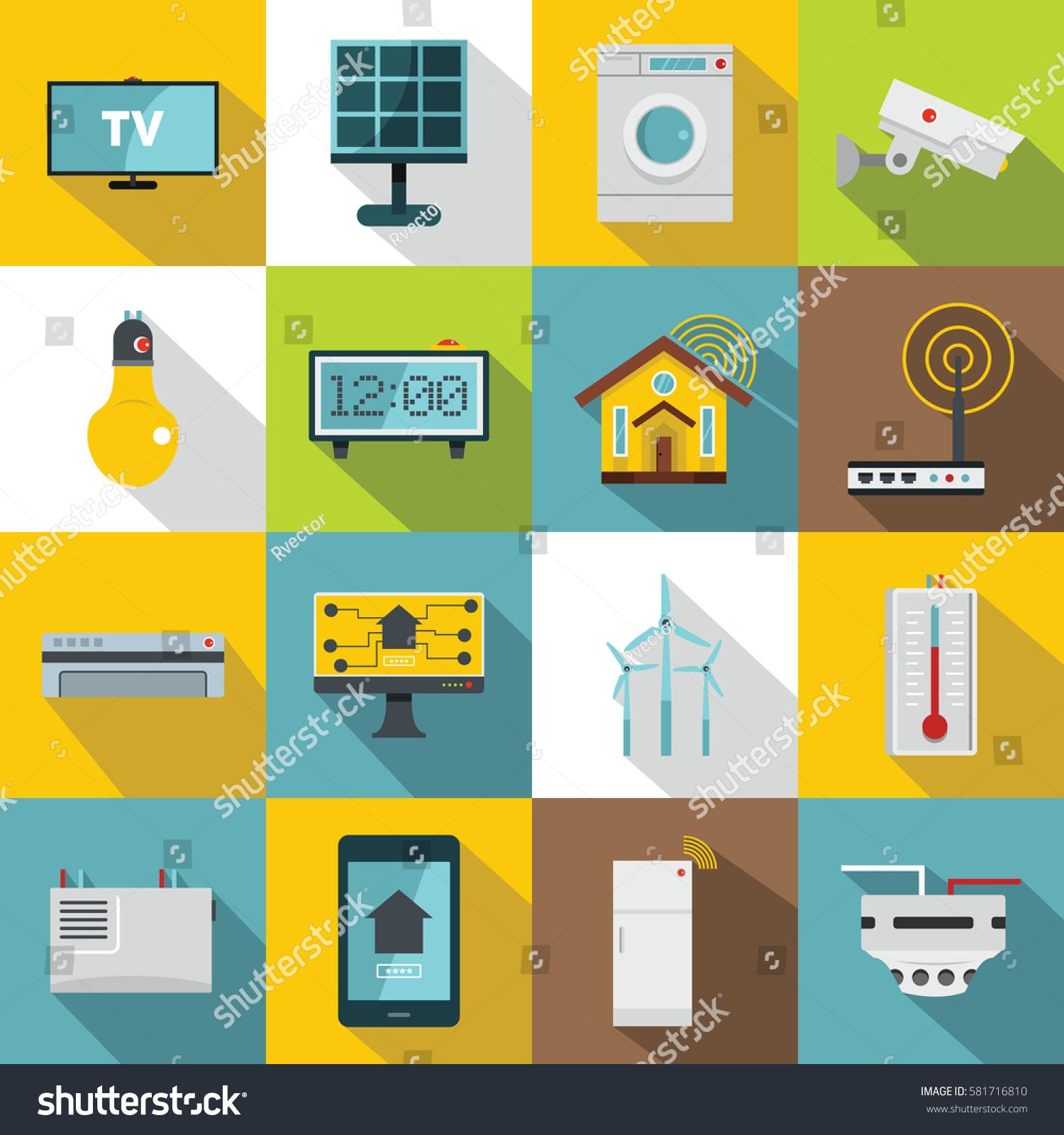 smart home house icons set flat stock vector 581716810 shutterstock. Black Bedroom Furniture Sets. Home Design Ideas