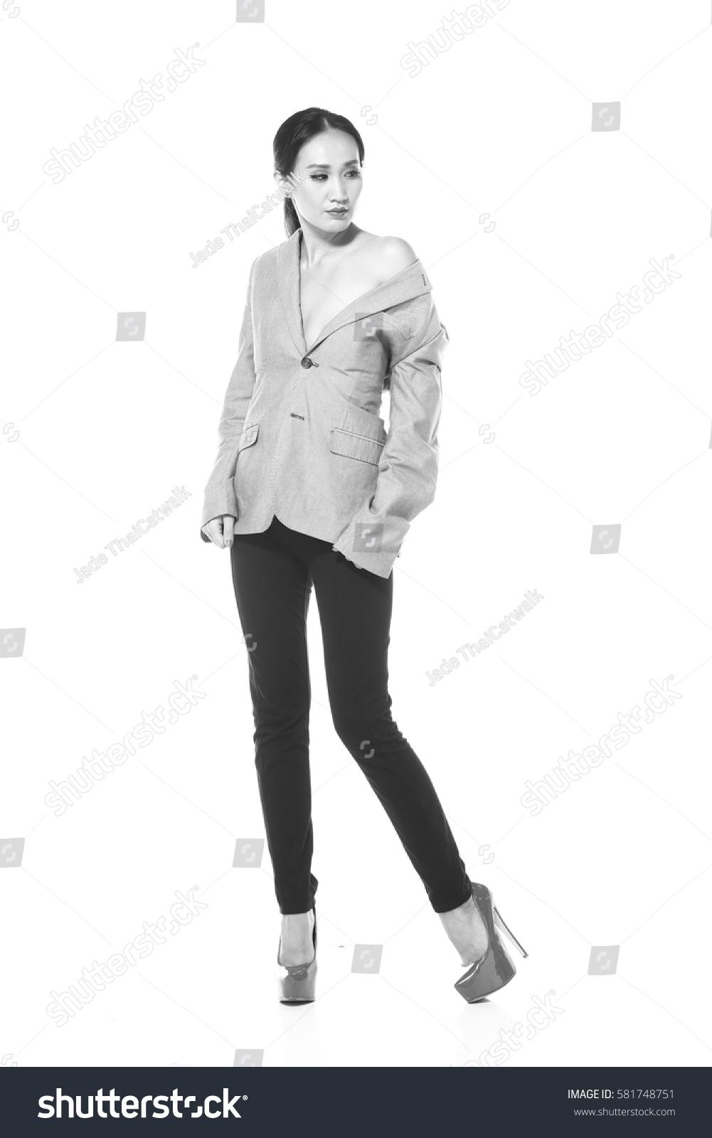 black white photo concept asian woman stock photo (royalty free