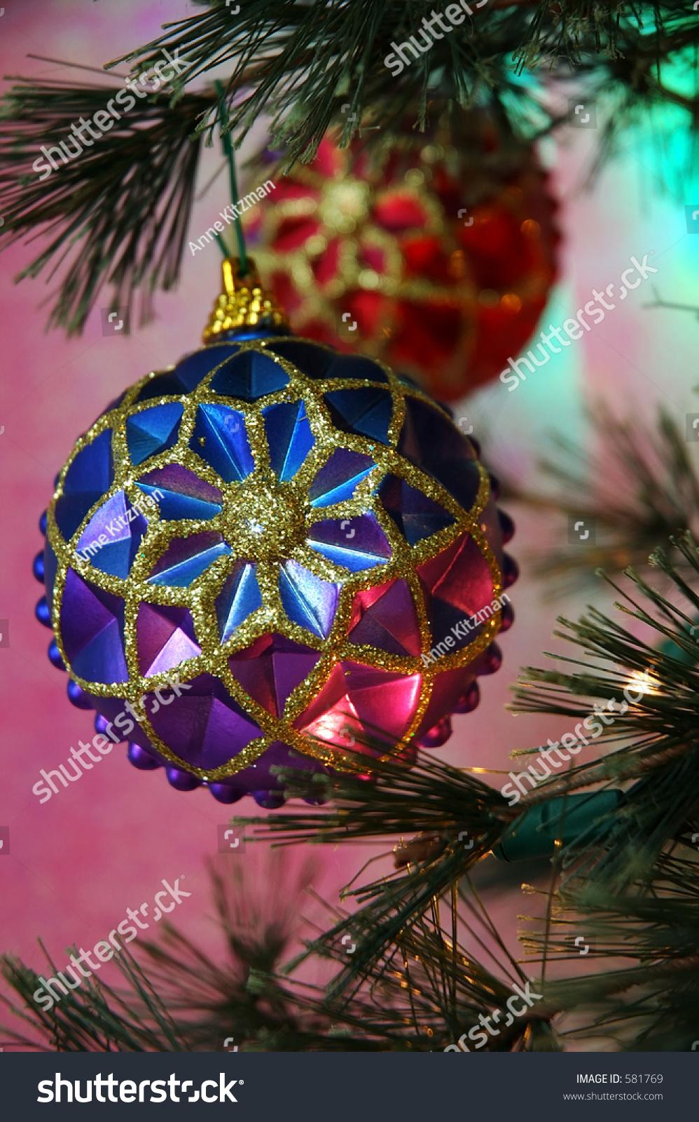 Christmas Tree Vintage Christmas Ornaments Colors Stock Photo Edit Now 581769