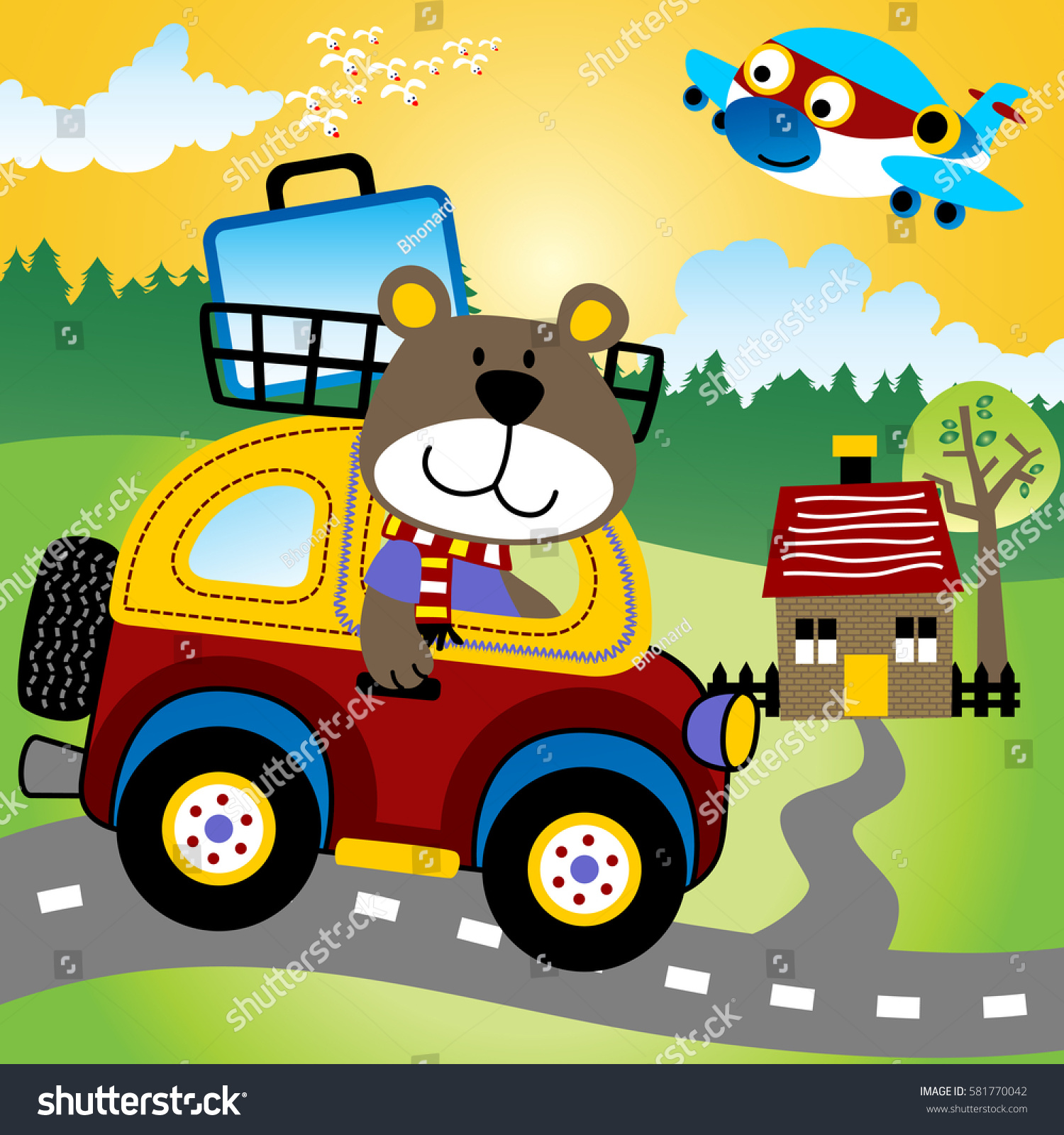 bear riding a little car back to hometown with a suitcase on top design for