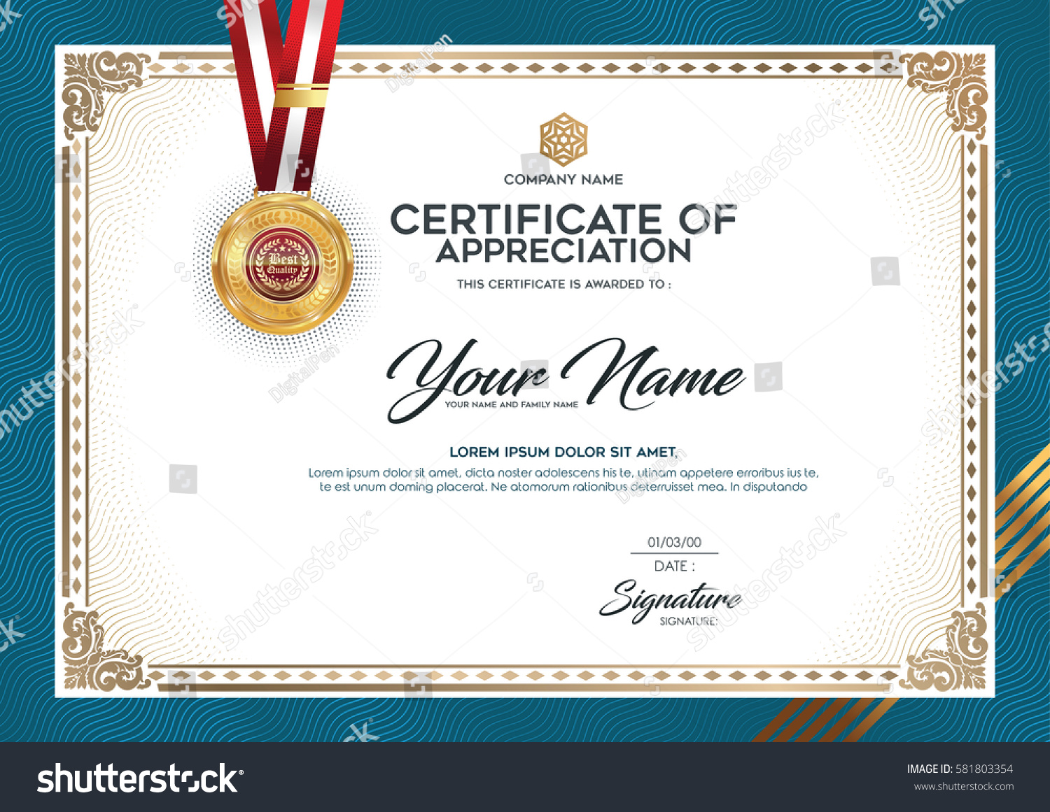 layout text format certification certificates that stock vector