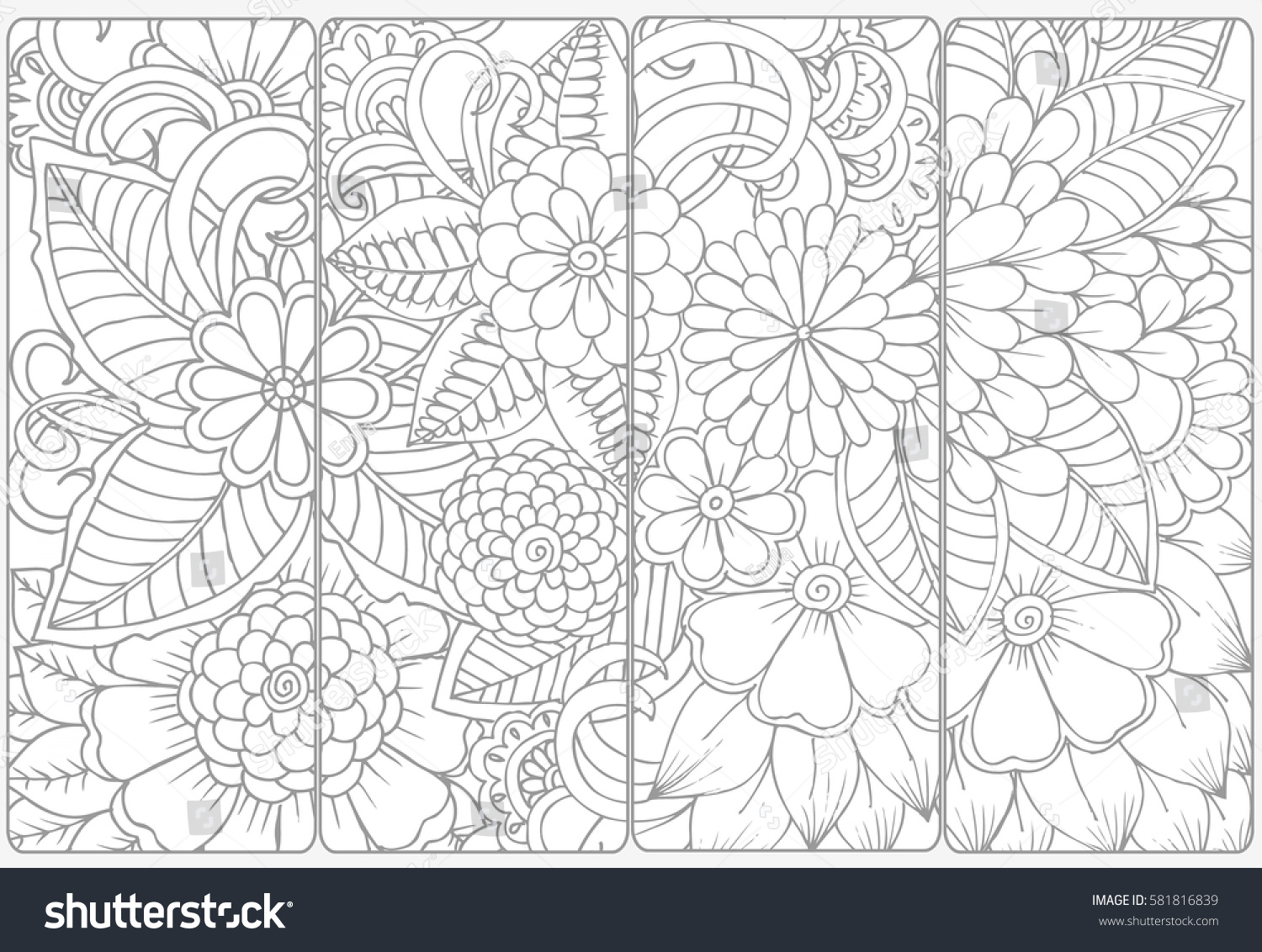 Vector Set Monochrome Bookmarks Doodle Flowers Stock Vector (Royalty ...