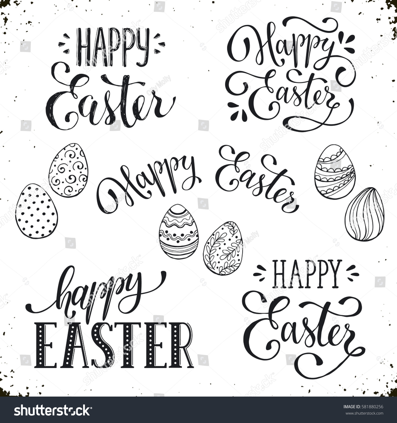 Hand written easter phrases greeting card stock illustration hand written easter phrases greeting card text templates with easter eggs isolated on white background m4hsunfo