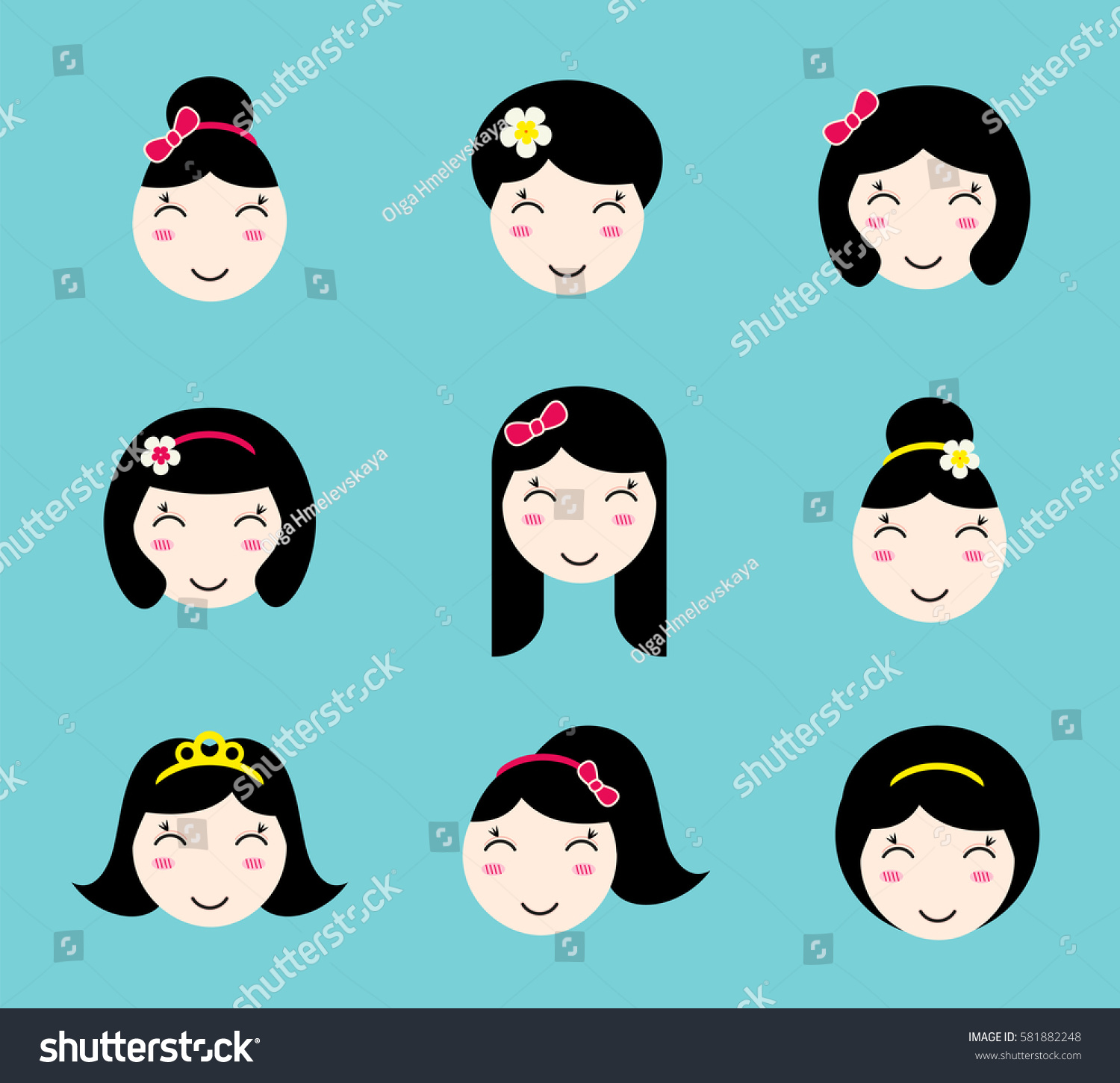 Set Cute Girl Characters Different Hairstyles Stock Vector