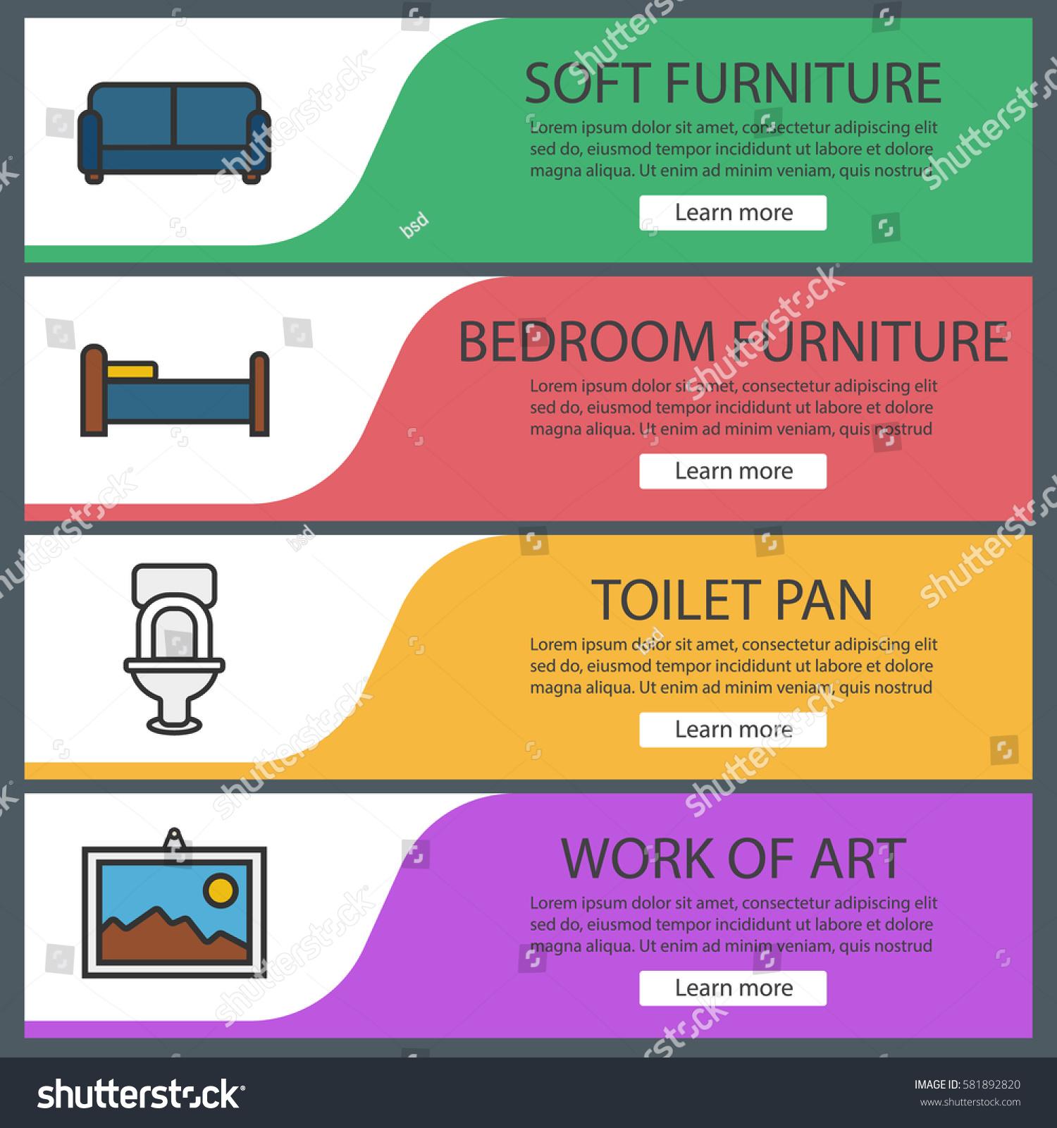 Furniture Banner Templates Set Sofa Toilet Stock Vector (Royalty ...