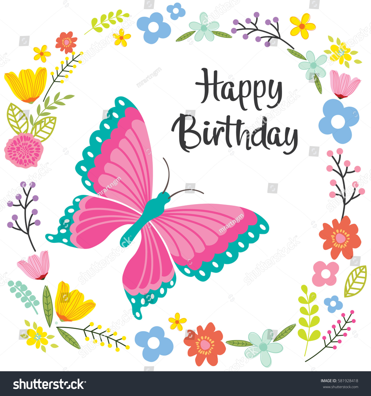 Birthday Card Butterfly Flowers Design Stock Vector Royalty Free