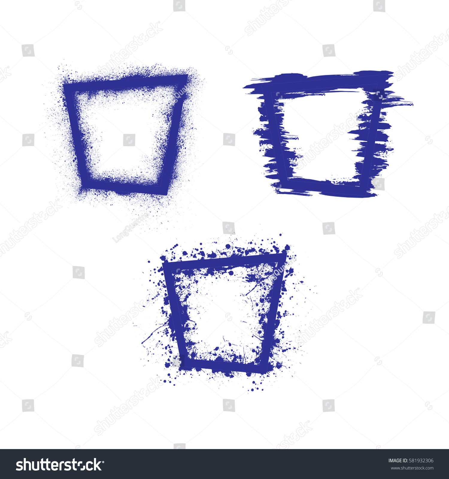 Set Three Dark Blue Rectangle Grunge Stock Vector (Royalty Free ...