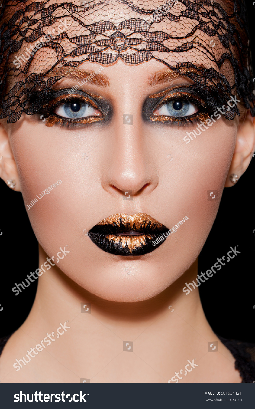 Beauty Black Gold Makeup Detail Avantgarde Stock Photo Edit Now
