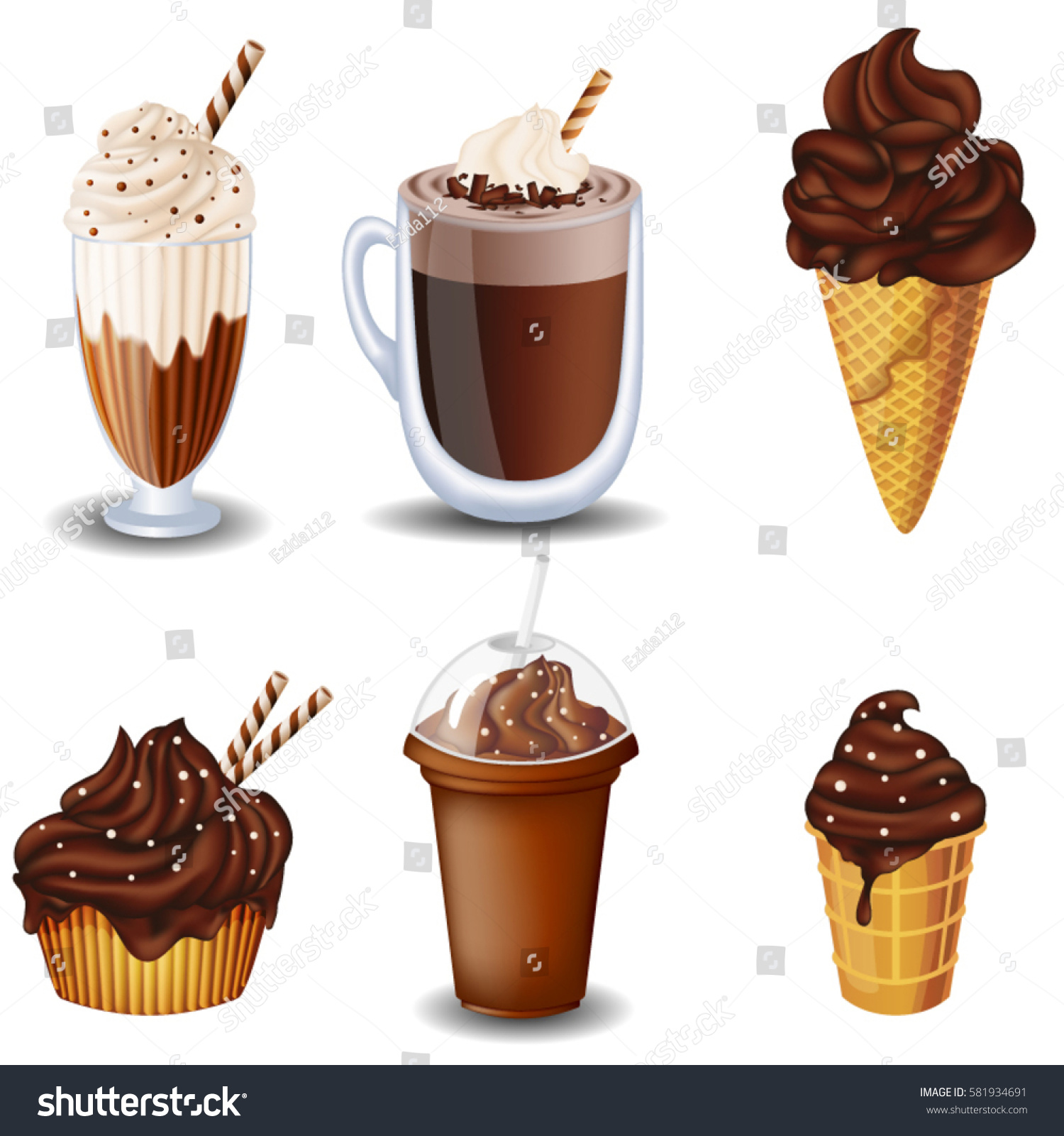 Set Chocolate Desserts Drinks Cupcake Milkshakes Stock