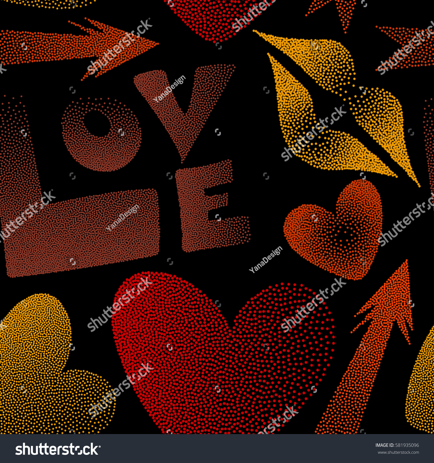 Hipster Symbols Arrow Hearts Kissing Lips Stock Illustration