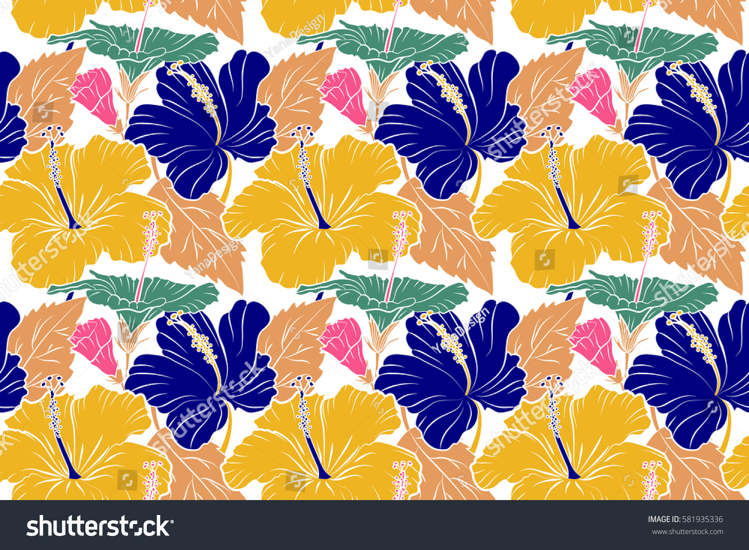 Raster Seamless Pattern Of Tropical Hibiscus Flowers In Yellow Pink