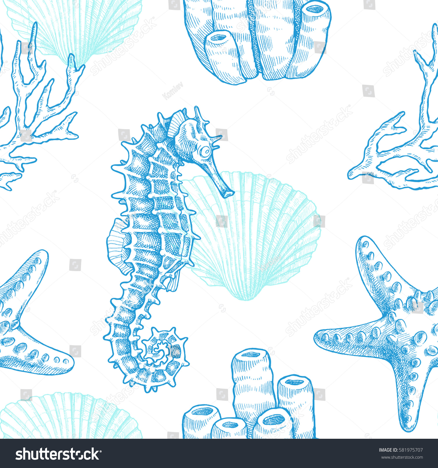 Sea life. Vector hand drawn vintage illustration of seahorse, starfish, coral sprigs and seashell. Marine seamless pattern