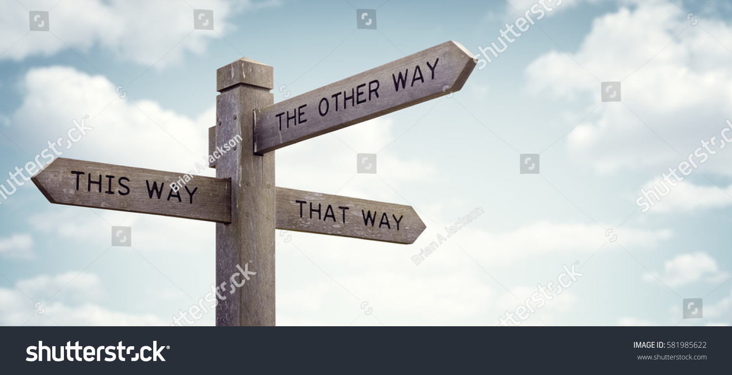Crossroad signpost saying this way, that way, the other way concept for lost, confusion or decisions #581985622