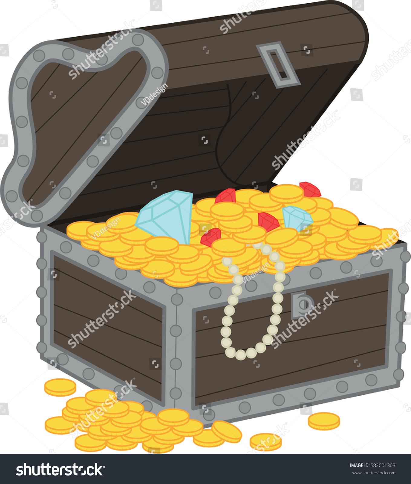 Vector Illustration Treasure Chest Stock Vector 582001303 ...