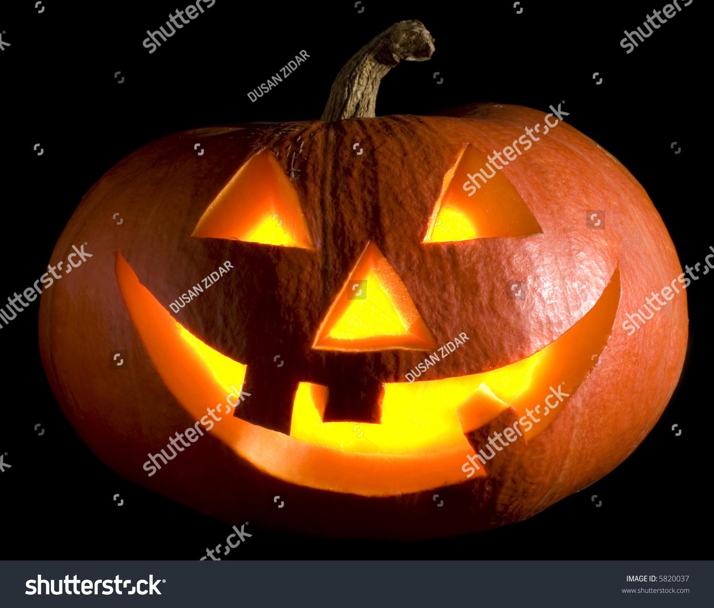 Jack-O-Lantern Pumpkin On Black Background Close Up Stock