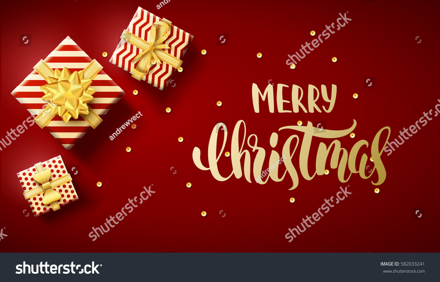 Merry Christmas 2018 Top View Gold Stock Vector 582033241 ...