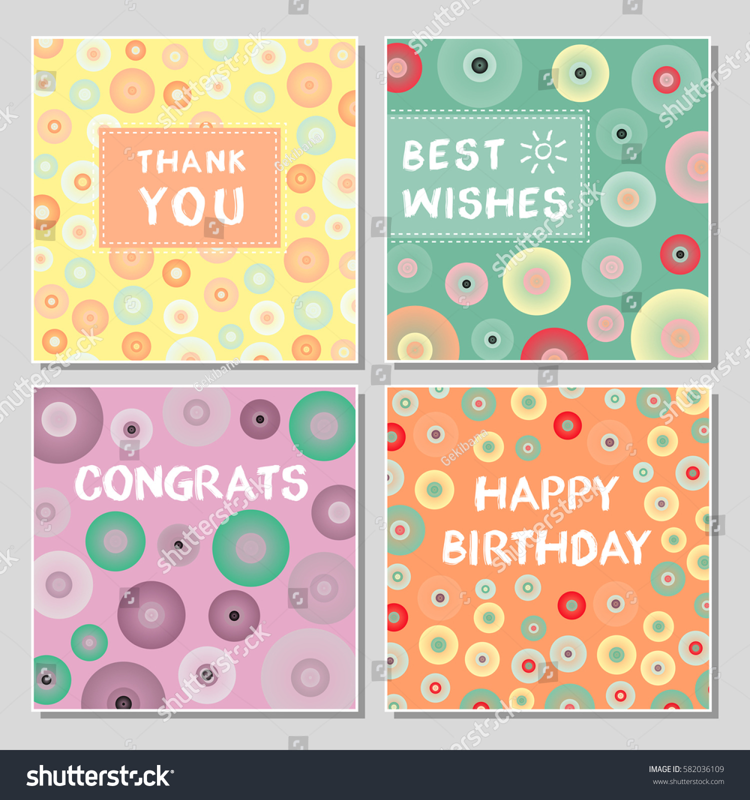 Wedding Thank You Cards With Po | Set Funny Greeting Cards Abstract Geometrical Stock Vector Royalty