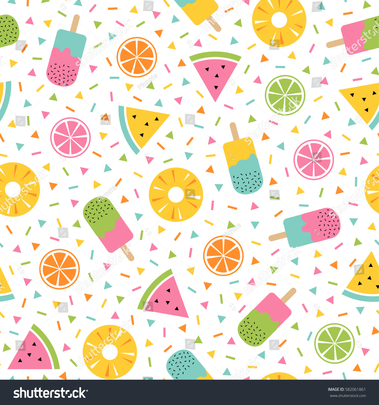 Pattern Cute Colorful Ice Cream Textiles Stock Vector: Colorful Summer Seamless Pattern Tropical Fruits Stock