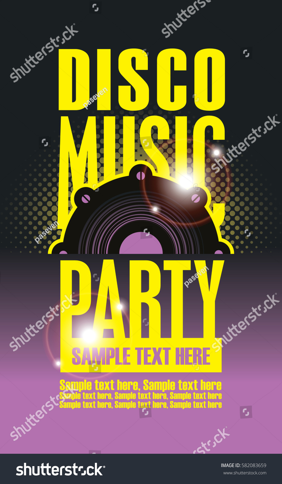 Disco Music Party Poster Template Audio Stock Vector Royalty Free