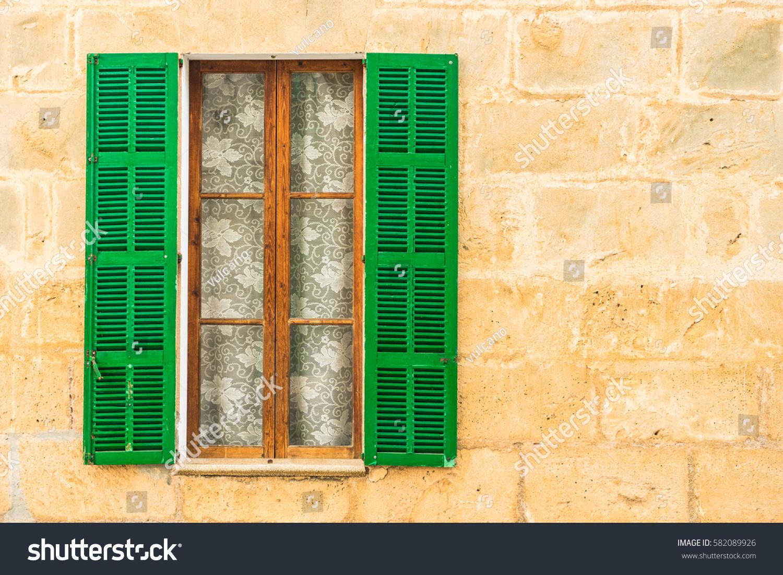 Mediterranean Window Green Open Shutters Rustic Stock Photo (Edit ...