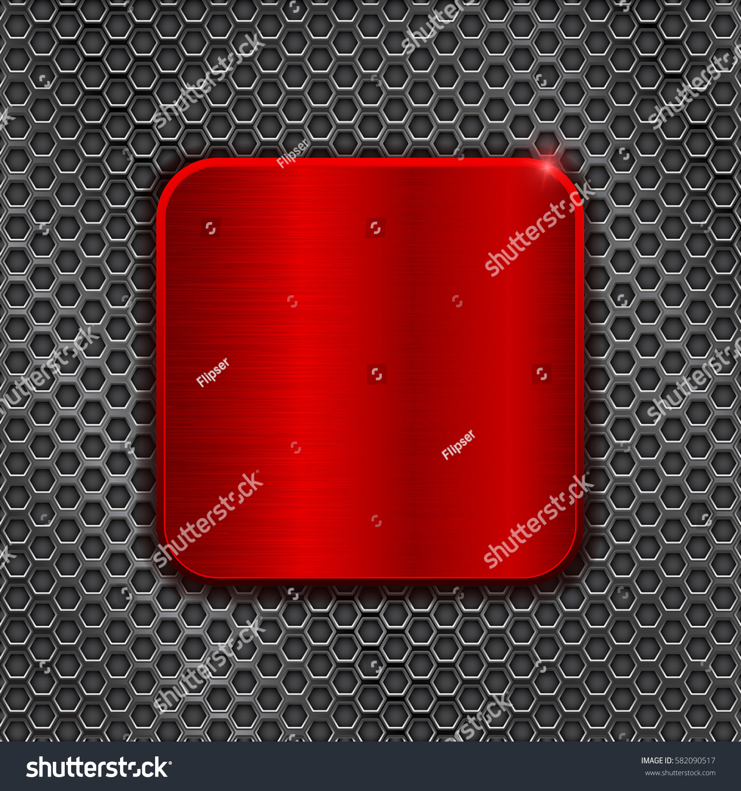 Red Square Plate On Metal Perforated Stock Vector 582090517 - Shutterstock & Red Square Plate On Metal Perforated Stock Vector 582090517 ...