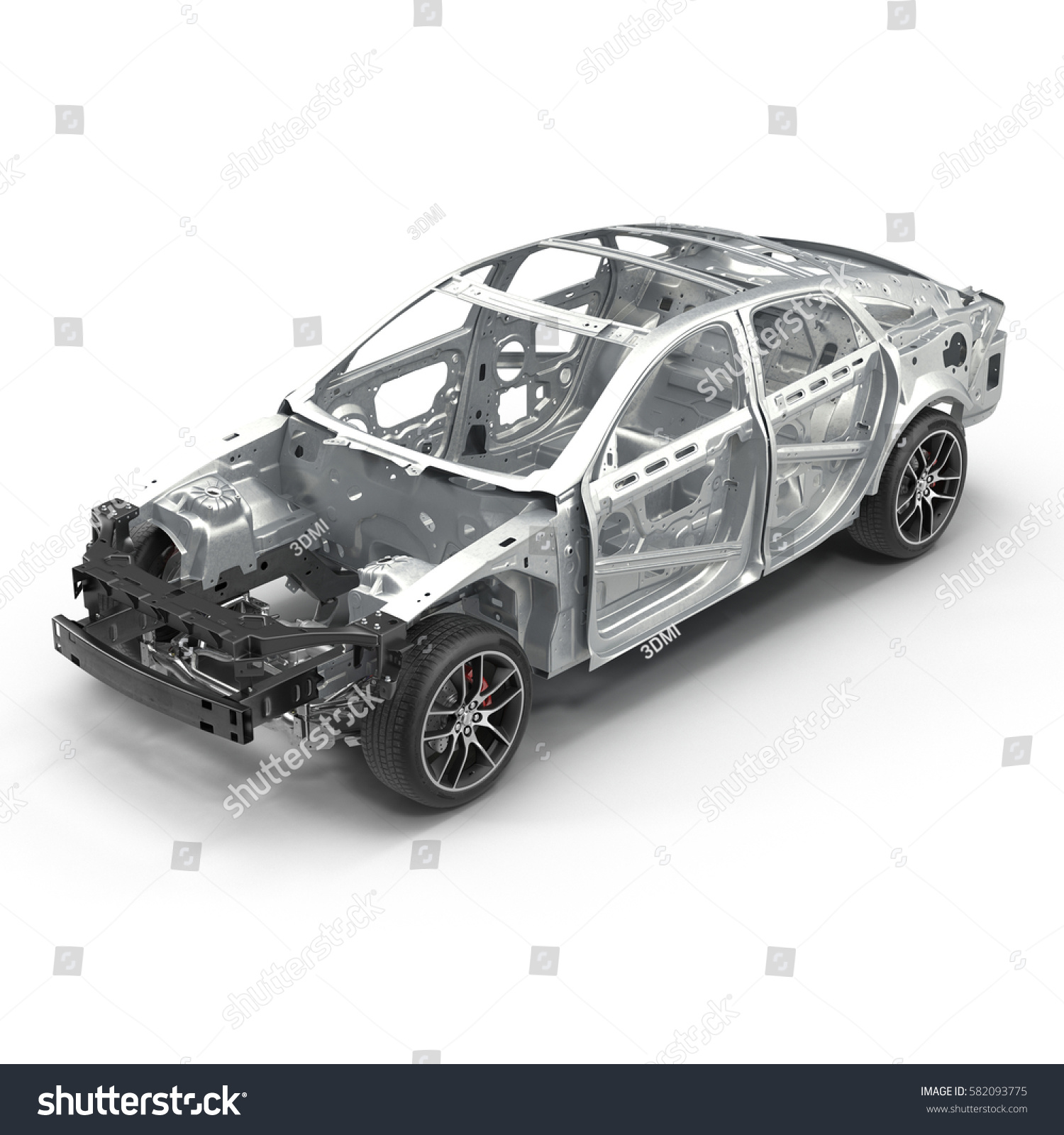 Design of car frame - Angle From Up Car Frame With Chassis On White 3d Illustration