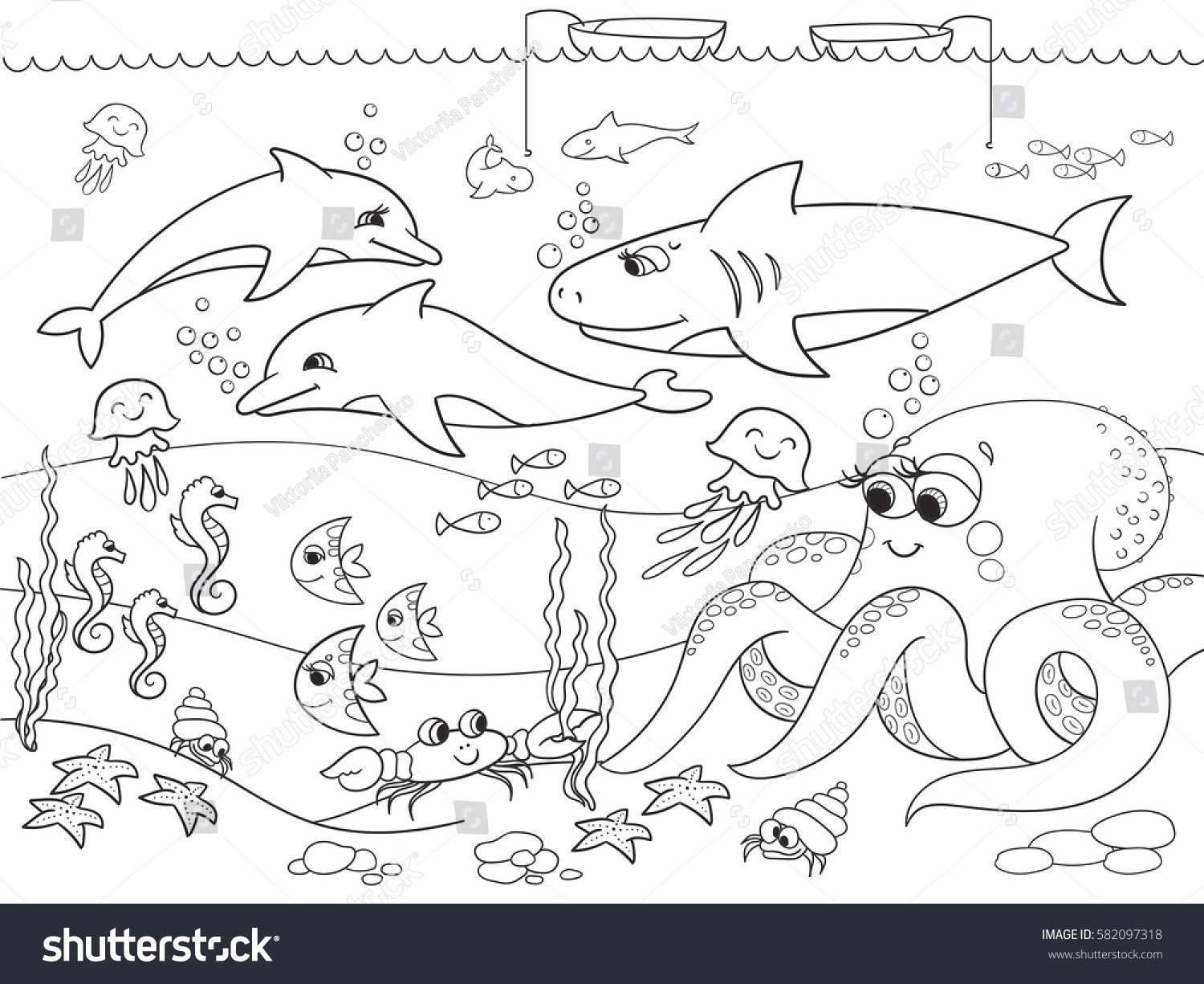 seabed marine animals vector coloring kids stock vector 582097318