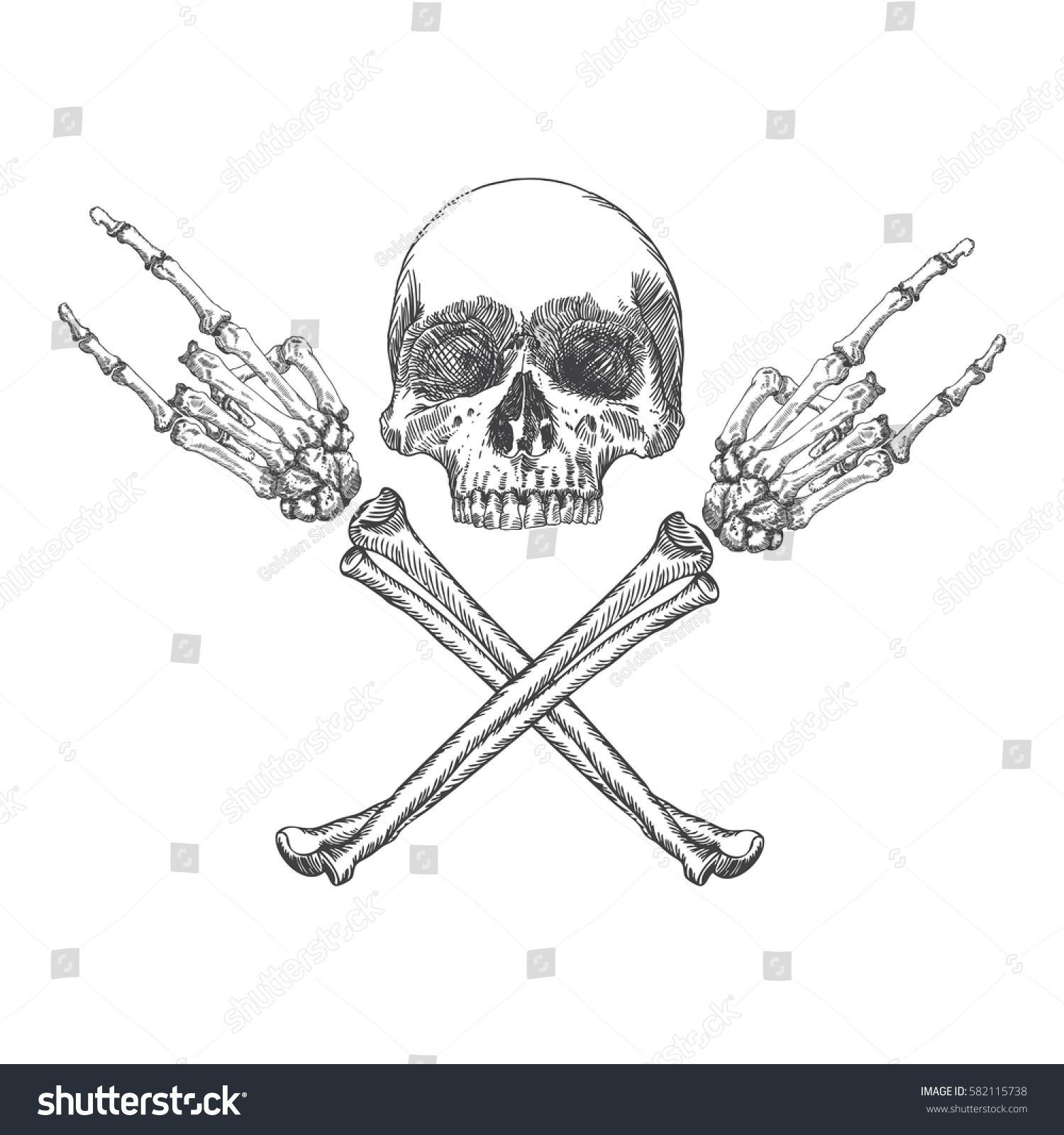 Skull Crossbones Hands Gesture Heavy Metal Stock Illustration