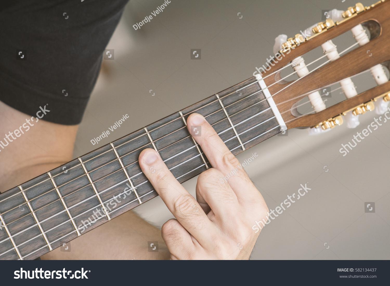 Closeup B Major Chord Played On Stock Photo Edit Now 582134437