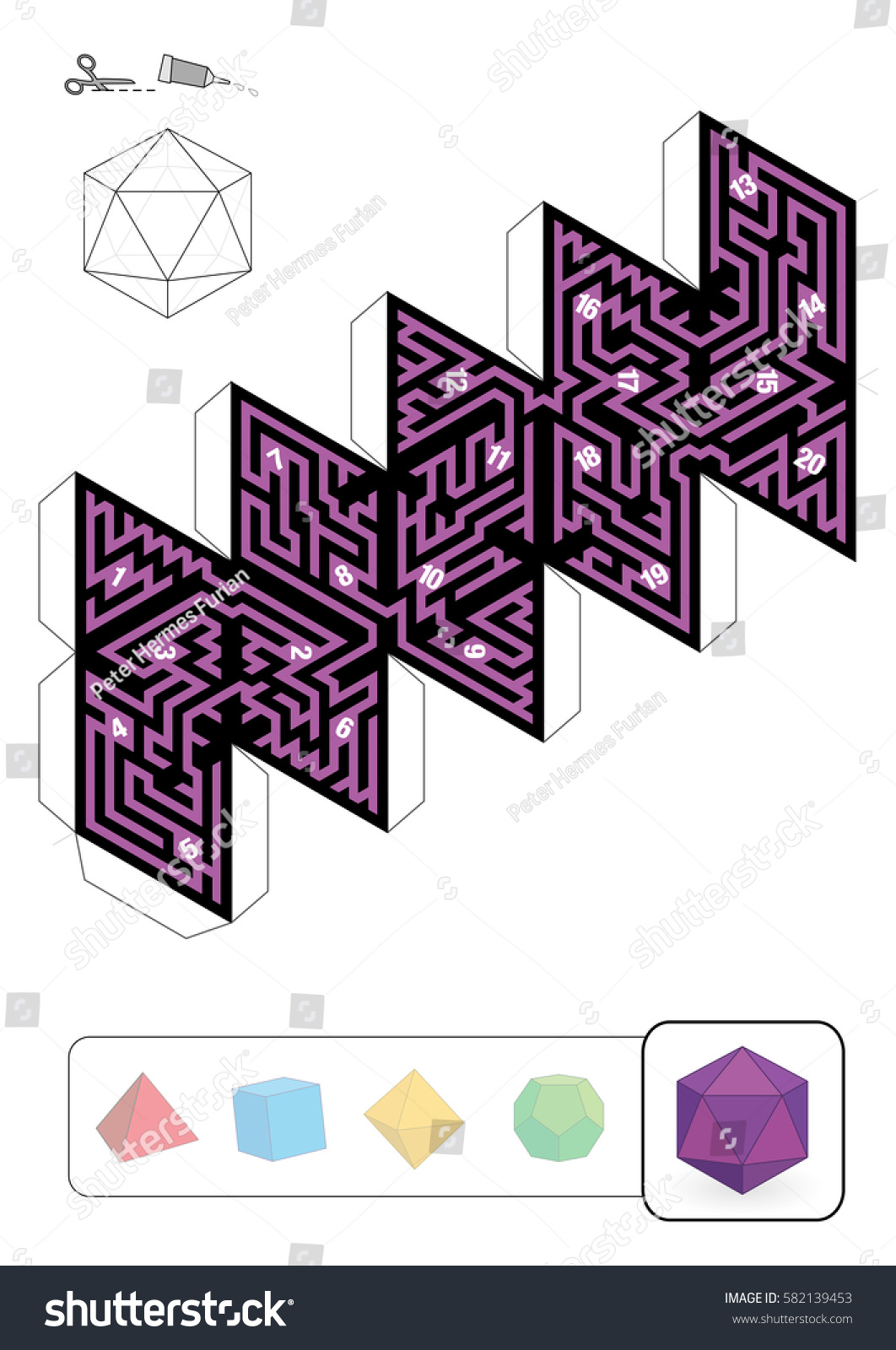 Icosahedron Maze Template One Five Platonic Stock Vector 582139453