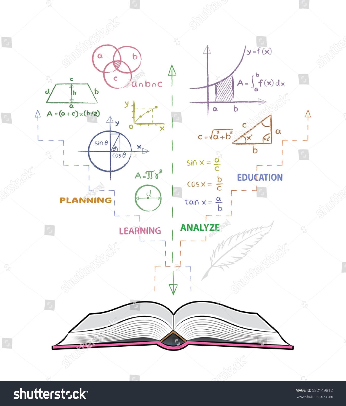 Open Book Mathematical Formulas Drawing Mathematics Stock Vector ...