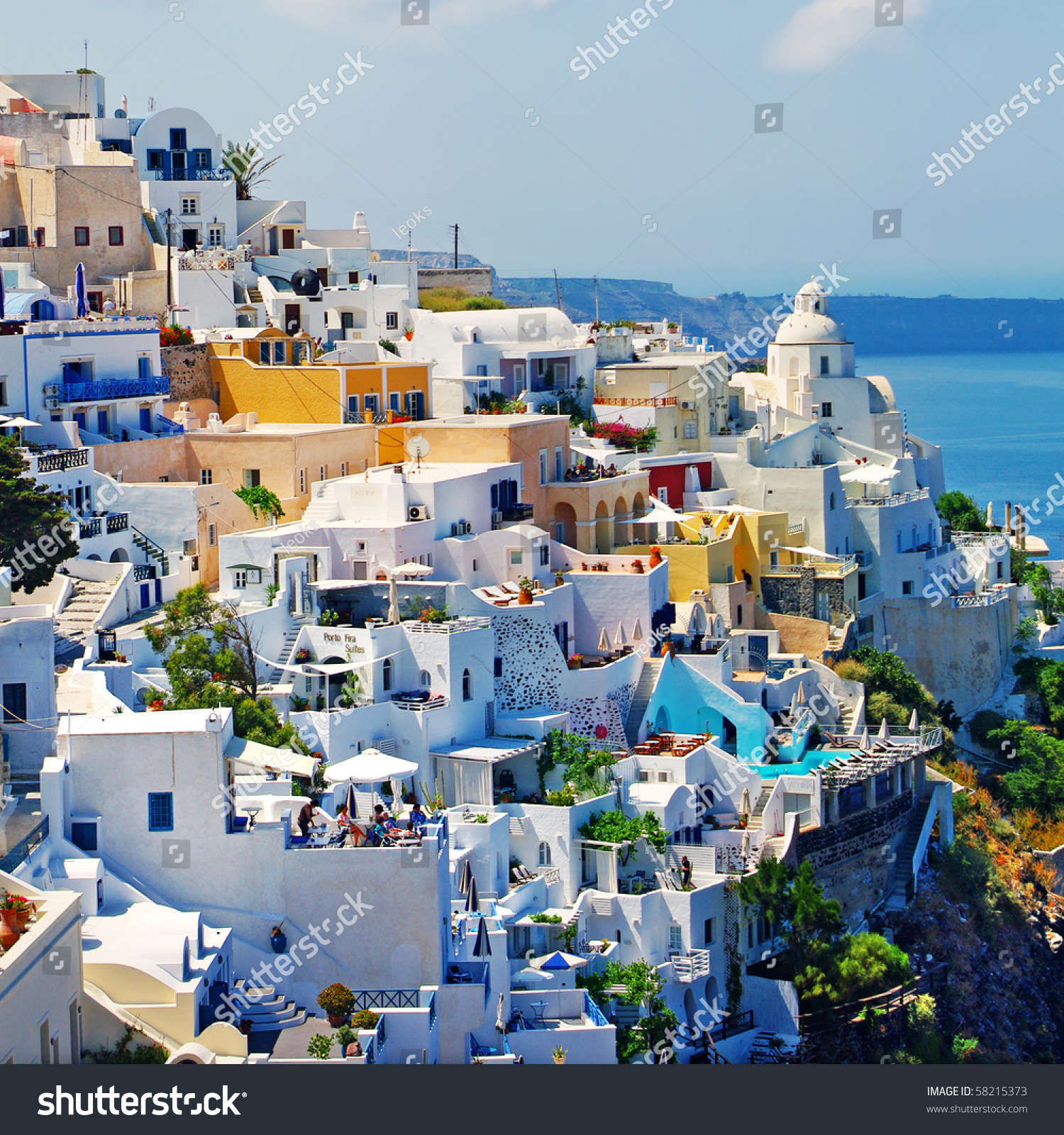View Fira Town Santorini From My Stock Photo 58215373