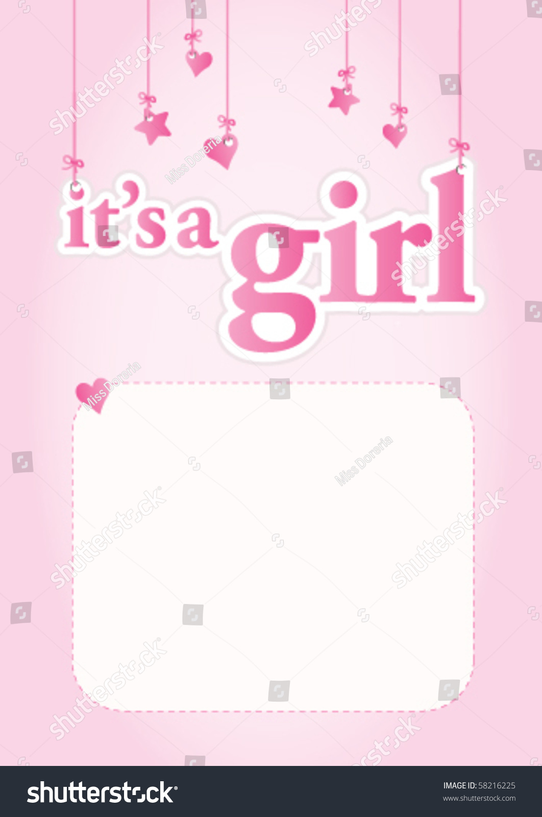 girl baby shower celebration light pink stock vector 58216225