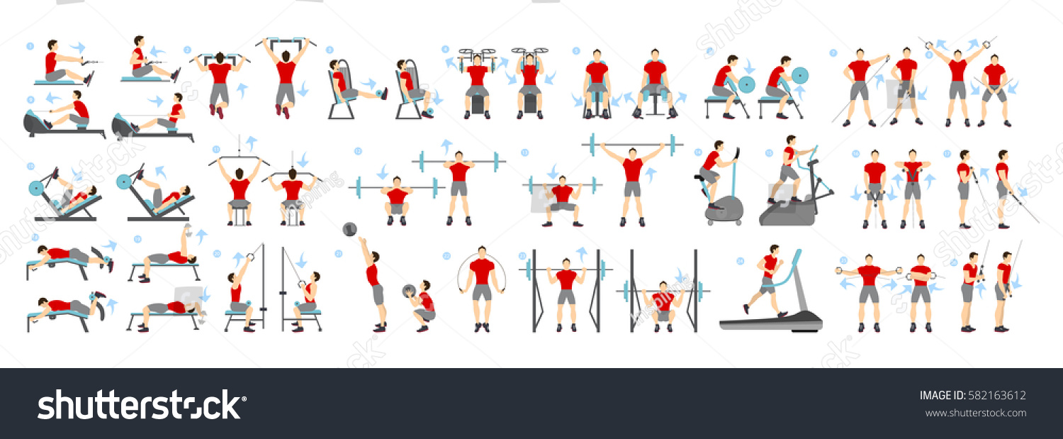 Men workout set. All kinds of exercises in gym like cardio, treadmill, body lifting and more using machines. Healthy lifestyle.