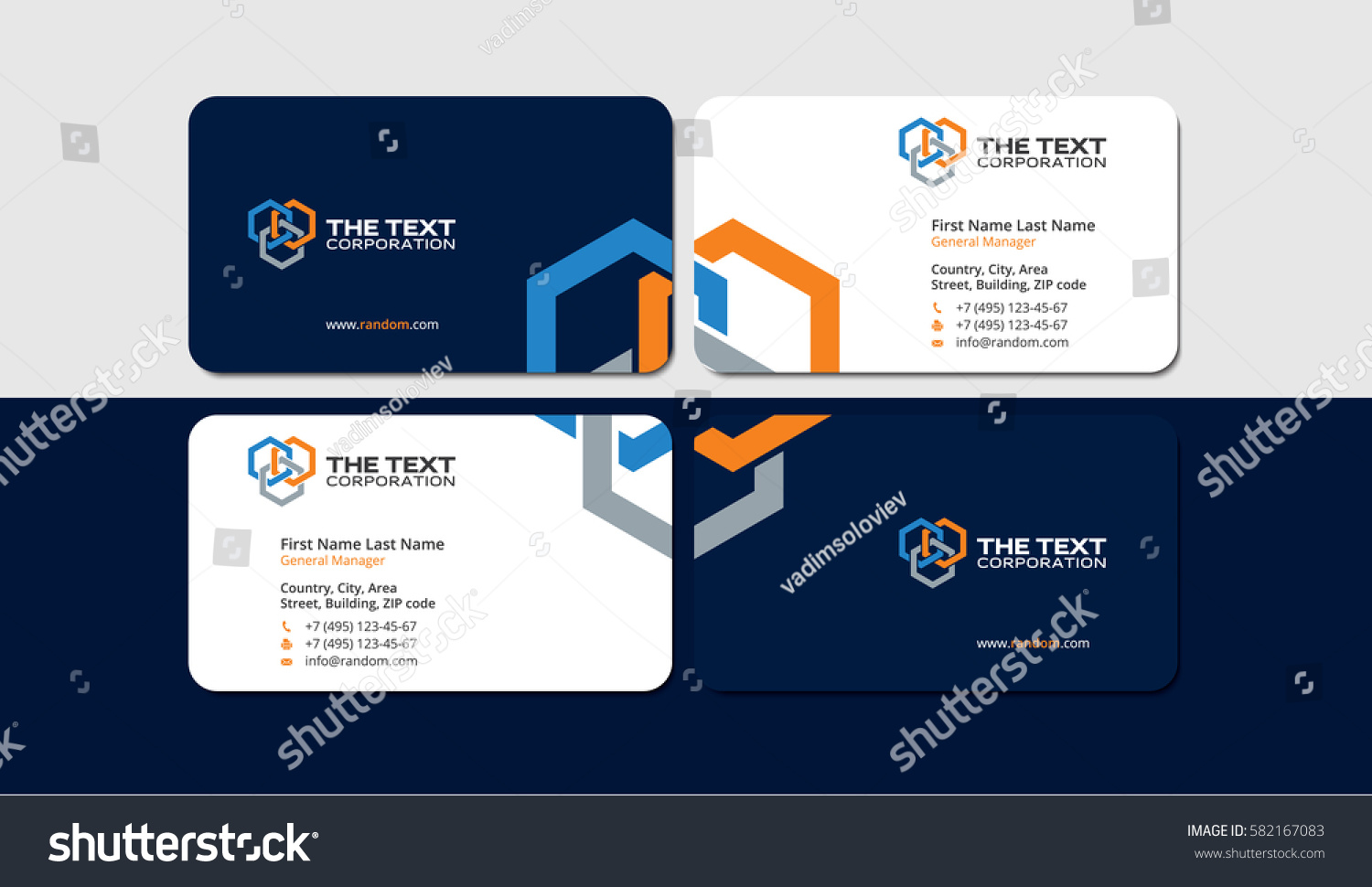 Business Cards Construction Industry Colored Hexagons Stock Vector ...
